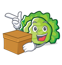 With box lettuce character cartoon style vector
