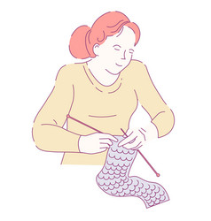 Woman knitting scarf needles isolated character vector