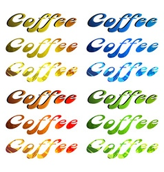 Word coffee in different colors and textures vector