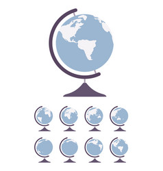 world globe on stand and set spin in different vector image