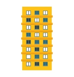 Yellow apartment building line sticker vector image