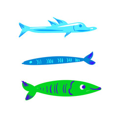 cute character fish set vector image