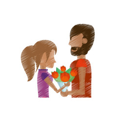 drawing romantic couple with flowers vector image vector image