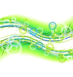 Green background with circles and lines vector