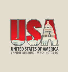letters usa with the image of the capitol building vector image