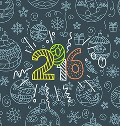 New year greeting card doodle elements vector