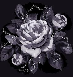 vintage monochrome rose with leaves on black backg vector image