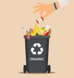 Woman hand throws organic garbage vector
