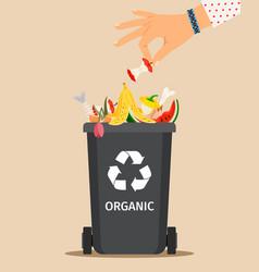 woman hand throws organic garbage vector image vector image