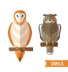 Owls Front Set vector image