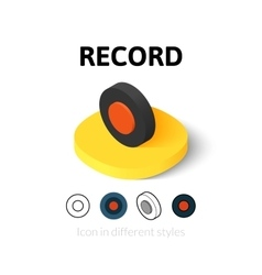 Record icon in different style vector