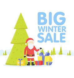 christmas big sale flat design santa with sale vector image