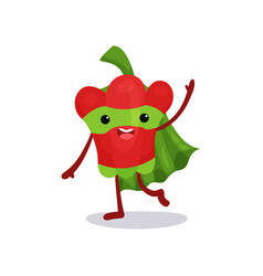 friendly red pepper walking and waving hand vector image vector image