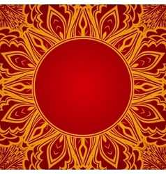 Red background with lace round ornament vector image vector image