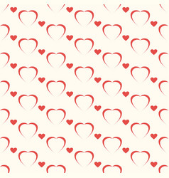 seamless geometric pattern red heart on white vector image vector image