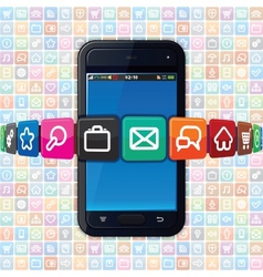 Smartphone with Internet Icons Technology vector image vector image
