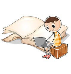 A young boy with a laptop near the big book vector image vector image