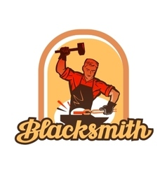 blacksmith worker with sledgehammer striking at vector image
