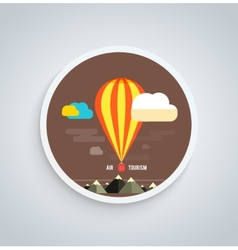 Hot Air Balloon Flying Over Mountain Round Banner vector image vector image