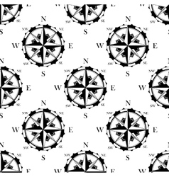 Retro nautical compasses seamless pattern vector image