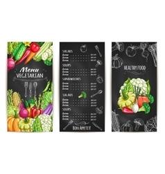 Vegetarian menu with vegetable dishes chalk sketch vector image vector image