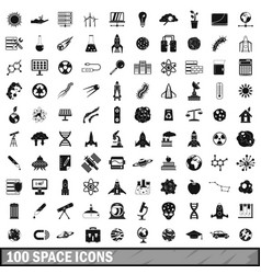 100 space icons set simple style vector