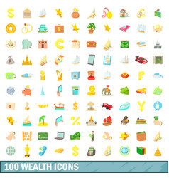 100 wealth icons set cartoon style vector