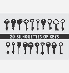 20 set of vintage keys shape designs vector image