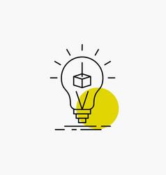 3d cube idea bulb printing box line icon vector