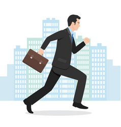 a businessman running with his briefcase vector image