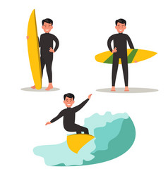 a set of images of a male surfer vector image