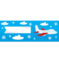 Airplane with banners in sky vector