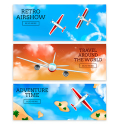 Airplanes banners realistic vector