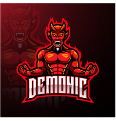 Angry red devil mascot logo design vector