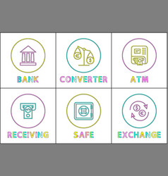Bank and fund safe converter scales and currency vector