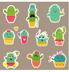 big set of cute cartoon cacti vector image