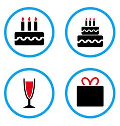 Birthday cake rounded icons vector