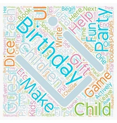 Birthday party ideas for children ages text vector