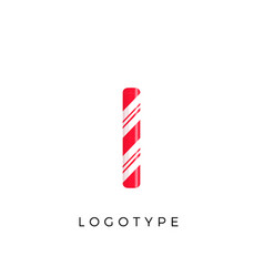 Candy letter i with bright red and white stripes vector
