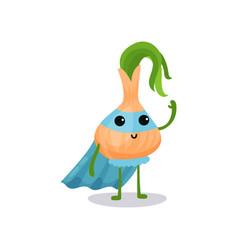 Cartoon character of fantastic onion in superhero vector