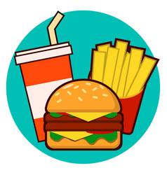 Cartoon fast food combo - hamburger french fries vector