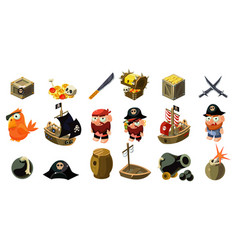 Cartoon pirate icons set mobile game assets vector