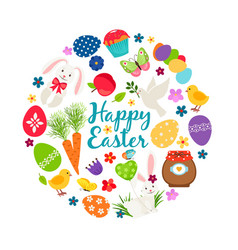 Cartoon spring happy easter printable vector
