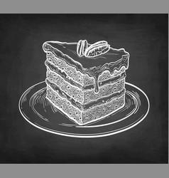 chalk sketch carrot cake vector image