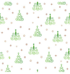 christmas tree snow star seamless pattern holiday vector image