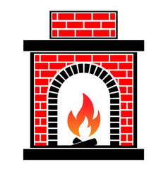 classic brick fireplace vector image