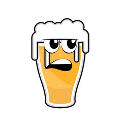 colored angry beer glass icon vector image