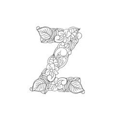 Coloring book ornamental alphabet letter z font vector
