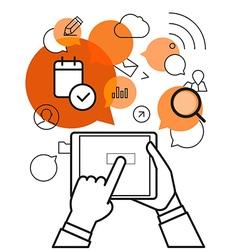 Communicating via modern tablet gadget Simple line vector