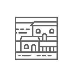cottage landscape line icon vector image